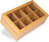 KitchenBrothers Bamboe Theedoos met Transparante Deksel - Luxe Bamboo Theekist met 8 Vakken - Theebox Doorzichtig voor 120 Zakjes of Losse Thee - Hout