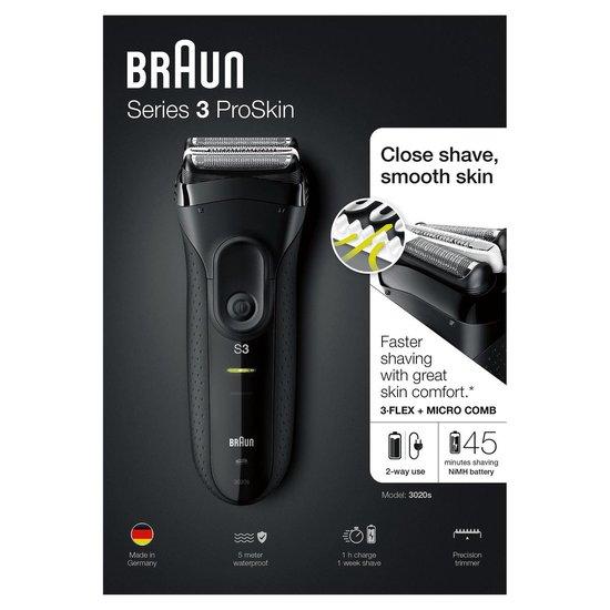 Braun Series 3 3020s ProSkin Zwart - Elektrisch Scheerapparaat