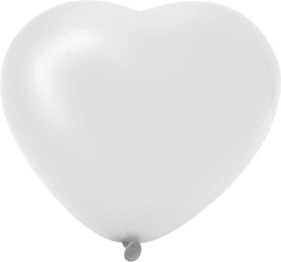 Ballonnen - Hartjes Wit - 6 stuks