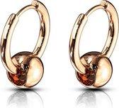 Oorbellen Captive Ball action ringen gold plated rose kleur ©LMPiercings