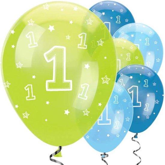 Ballonnen 1 jaar Blauw Groen - 6 stuks