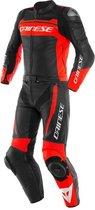 Dainese Mistel Black Matt Fluo Red Black Matt Leather 2 Piece Motorcycle Suit 54