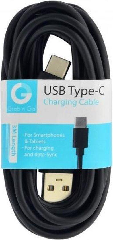 GnG Grab n Go USB-C Kabel 3 Meter Zwart