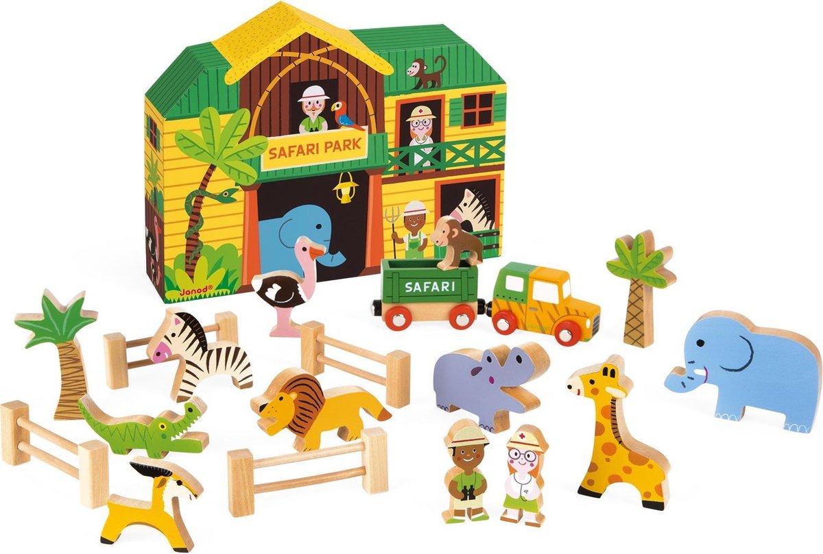 janod houten speelset het safaripark 8542   ilovespeelgoed.nl