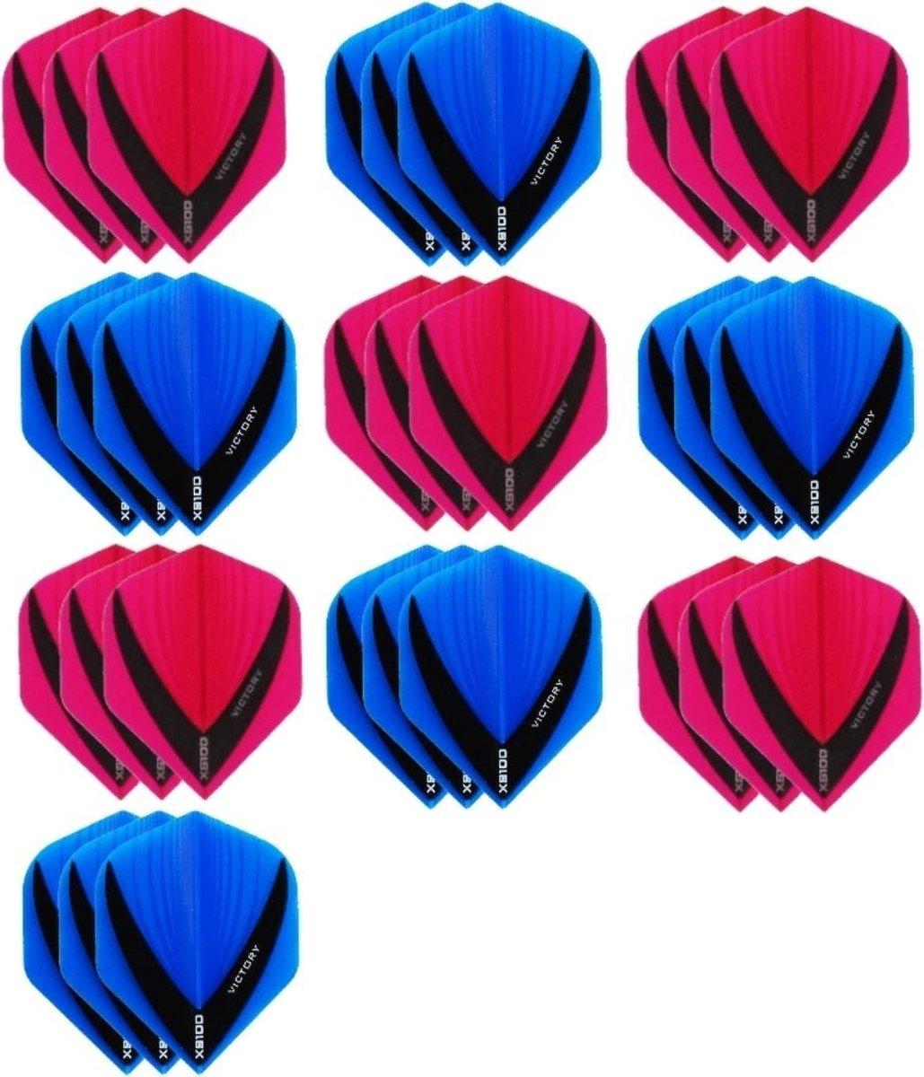 10 sets (30 stuks) - XS100 Vista flights - duo kleur pakket - Roze en Aqua/Blauw - flights - dartflights