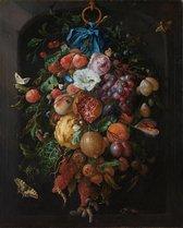 Fotobehang -Jan Davidsz de Heem - Festoen van vruchten en bloemen - breed 200 cm x hoog 250 cm. Vliesbehang 150 grams A-Kwaliteit. Art. F029.20