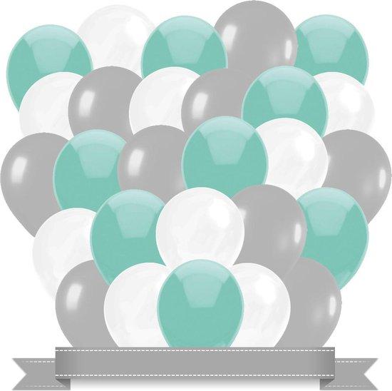 Ballonnen Mint / Wit / Zilver (30ST)