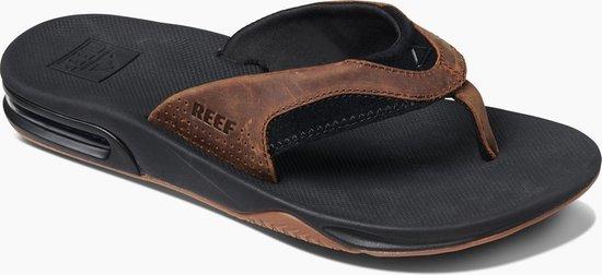 Reef Leather Fanning Heren Slippers - Black/Bronze - Maat 40