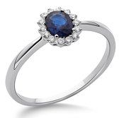 Orphelia RD-3927/54 - Ring - Goud 18 kt - Diamant 0.08 ct / Saffier 0.42 ct - 17.25 mm /  maat 54