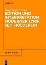Edition Und Interpretation Moderner Lyrik Seit Hoelderlin