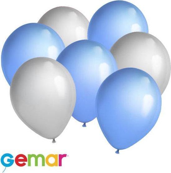 30x Ballonnen Zilver en Licht blauw (Ook geschikt voor Helium)