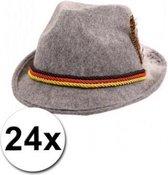 24 Grijze Oktoberfest hoedjes met de Duitse vlag