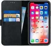 Rosso Deluxe Apple iPhone 11 Hoesje Echt Leer Book Case Zwart