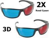 2 Stuks - Rood Cyaan 3D Bril Zwart