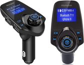 Bluetooth FM Transmitter voor auto, 120 ° Rotatie Auto Radio Adapter CarKit met 4 Music Play Modes / Hands-free Bellen / TF Kaart / USB Auto Lader / USB Flash Drive / AUX Input / Output 1.44 inch LCD Display/ Bluetooth Carkit 5 in 1