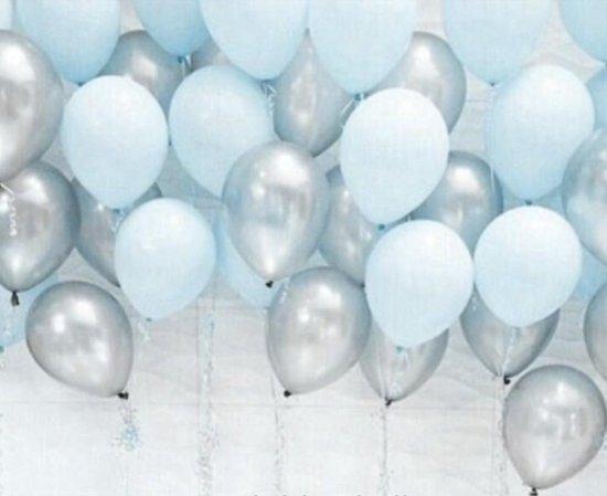 Luxe Ballonnenset Blauw & Zilver - 25 Stuks - Helium Ballonnen Feest Ballonnen Feestje Verjaardag Babyshower Party Wedding Bruiloft Valentijn