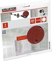 Kreator KRT232006 Schuurpapier rond – Ø225 mm – korrel: 100 – 5 stuks