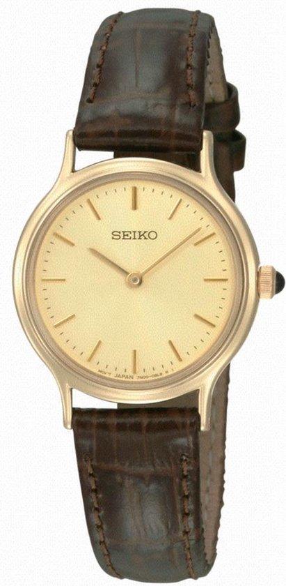 Seiko SFQ832P1 horloge dames - bruin - edelstaal doubl�