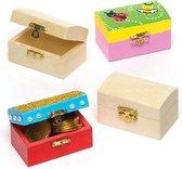 Kleine houten schatkisten - maak je eigen - creatieve knutselmateriaal voor kinderen en volwassenen om een sieraad doosje te schilderen en versieren (4 stuks)