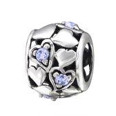 Hartjes bead lavendel met 5 zirconia | Bedel | Zilverana | geschikt voor Biagi , Pandora , Trollbeads armband | 925 zilver