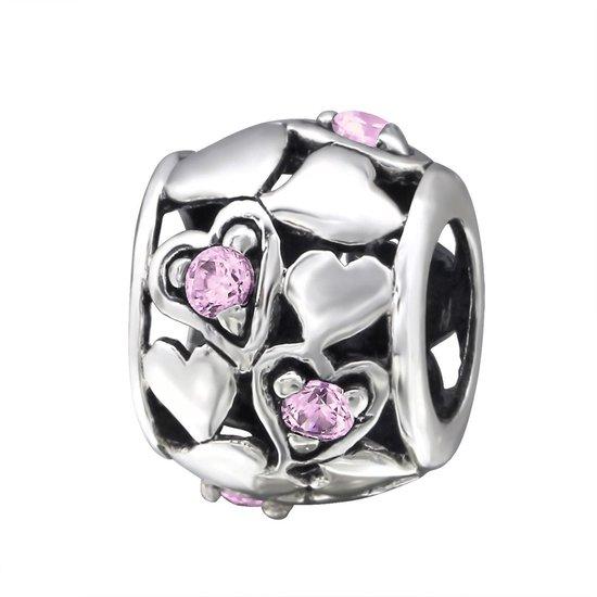Hartjes bead pink roze met 5 zirconia | Bedel | Zilverana | geschikt voor Biagi , Pandora , Trollbeads armband | 925 zilver