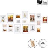 bomoe Passion Set van 18 Houten Fotolijsten - 6x 10,5x15cm / 4x 13x18cm / 4x 18x24cm / 4x 20x30cm – Plexiglas Fotolijst van Hout - Standaard & Passepartout - Metalen Ophanging - Wit