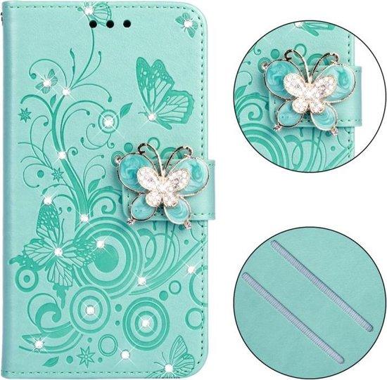 Let op type!! Diamant ingelegde vlinders liefde bloemen patroon horizontale Flip lederen case voor iPhone XS met houder & kaartsleuven & portemonnee & Lanyard (Butterfly Green)