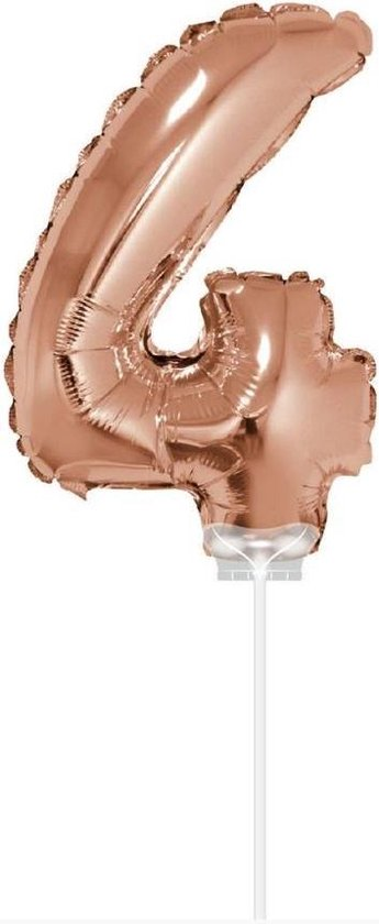 Haza Original Folieballon Cijfer 4 40 Cm Rosé Goud