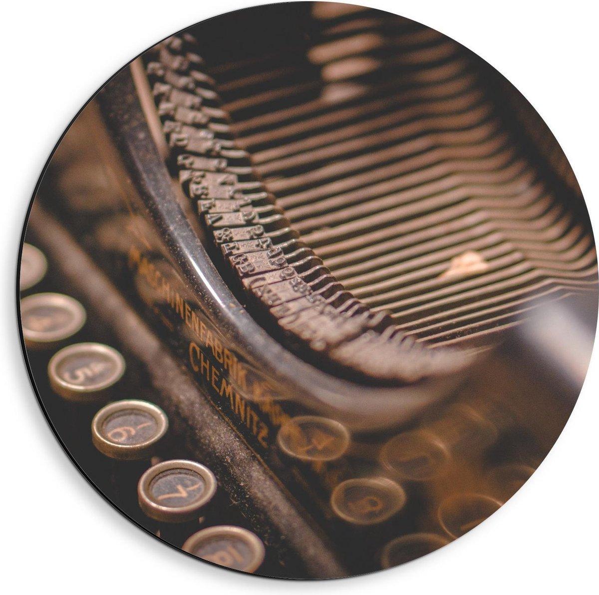 Dibond Wandcirkel - Toetsen van Typemachine - 40x40cm Foto op Aluminium Wandcirkel (met ophangsysteem)