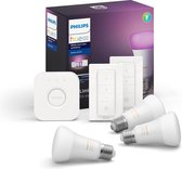 Philips Hue starterspakket - White and Color Ambiance - E27 - 3 lampen - 1 bridge - 2 dimmerswitch