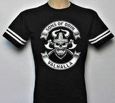 T-Shirt - Casual T-Shirt - Fun T-Shirt - Fun Tekst - Black & White - Sons of Odin - Valhalla - Skull - Viking - maat XL