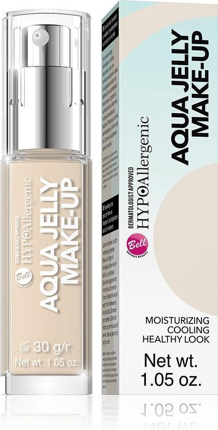 Bell – Hypoallergenic Aqua Jelly Makeup Hypoallergenic Moisturizing And Matting Foundation With A Jelly Consistency 02 Light Sand Beige 30G