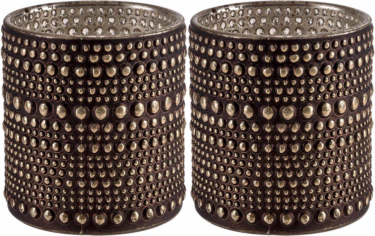 Set van 2x stuks theelichthouders/waxinelichthouders glas bruin 10 cm