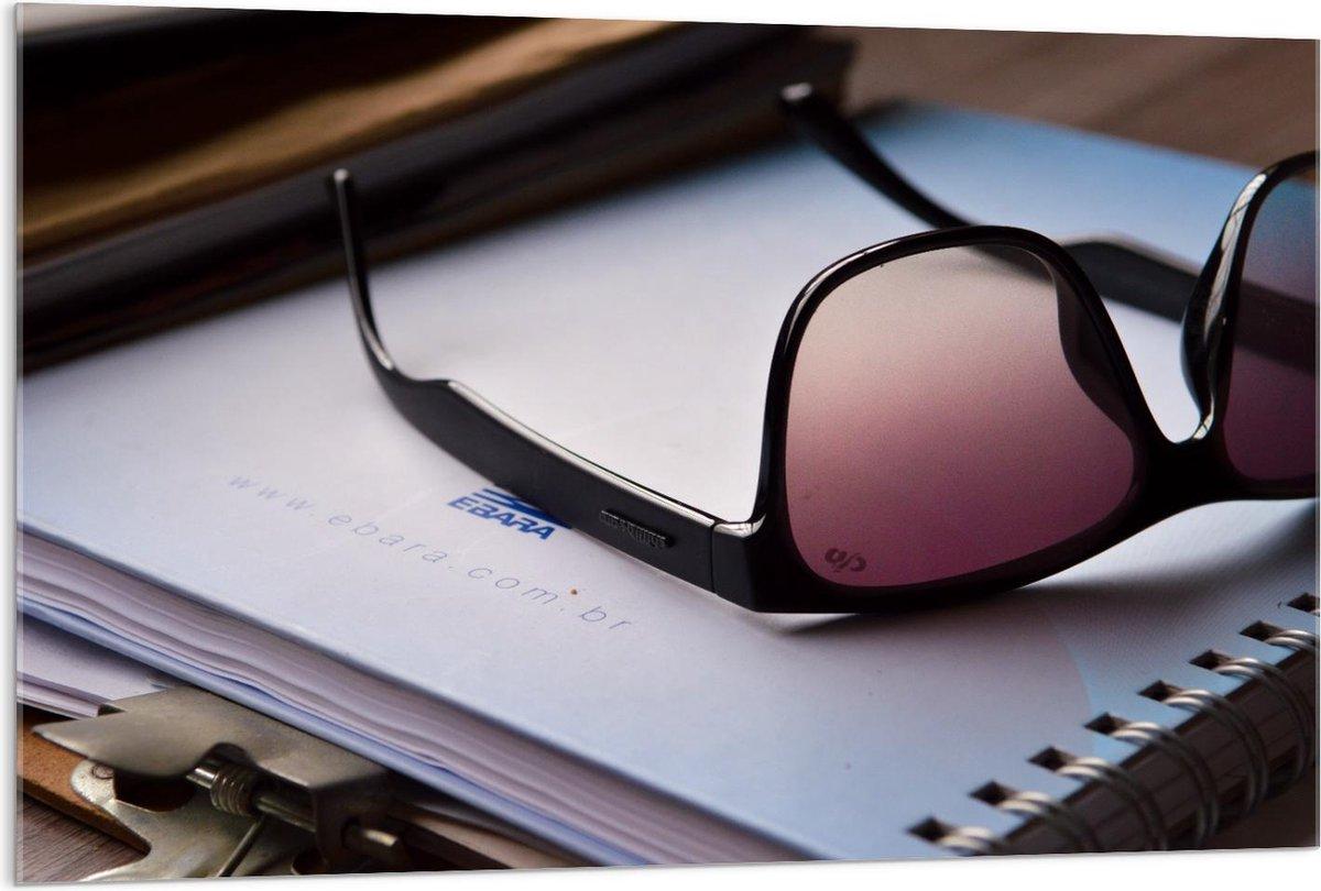 Plexiglas - Zwarte Zonnebril op Boek - 120x80cm Foto op Plexiglas (Met Ophangsysteem)