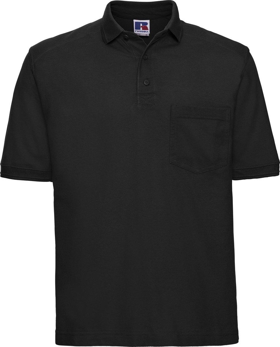 Russell Werkkleding Heren Poloshirt met korte mouwen voor zwaar gebruik (Zwart)
