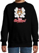 Foute Kerstsweater / Kerst trui met hamsterende kat Merry Christmas zwart voor kinderen- Kerstkleding / Christmas outfit 12-13 jaar (152/164) - Kersttrui
