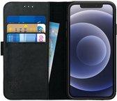 Deluxe Apple iPhone 12 / 12 Pro Hoesje Echt Leer Book Case Zwart