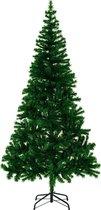 Kunstkerstboom - 180 cm - donkergroen - met standaard en lichtketting - 120 Leds