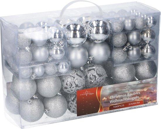 Christmas Gifts kerstballenset - 100 stuks - 3/4/6cm - Zilver