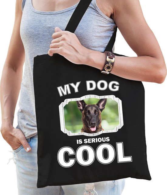 Dieren Mechelse herders tasje katoen volw + kind zwart - my dog is serious cool kado boodschappentas/ gymtas / sporttas - honden / hond