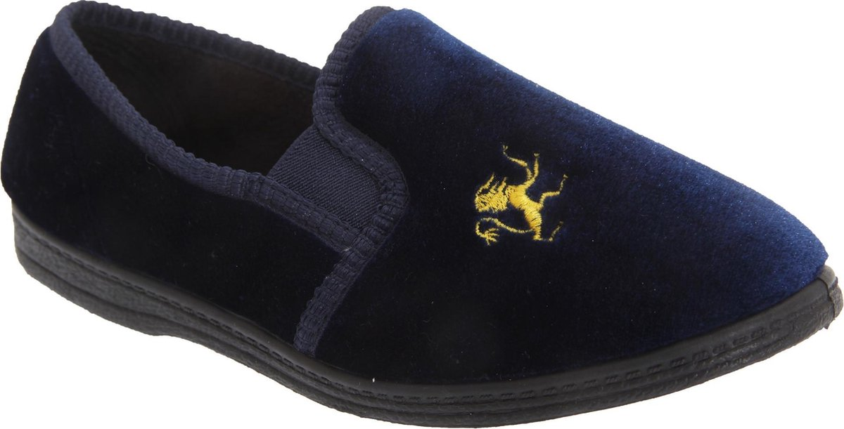 Sleepers Kids Boys Kyle Lion Motif Twin Gusset Slippers (Marineblauw)