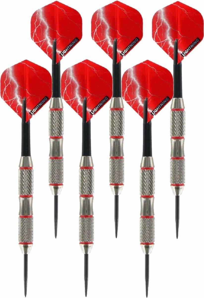3x Set van 3 dartpijlen Blackjack Brass Red 25 grams - Darten/darts sport artikelen pijltjes messing