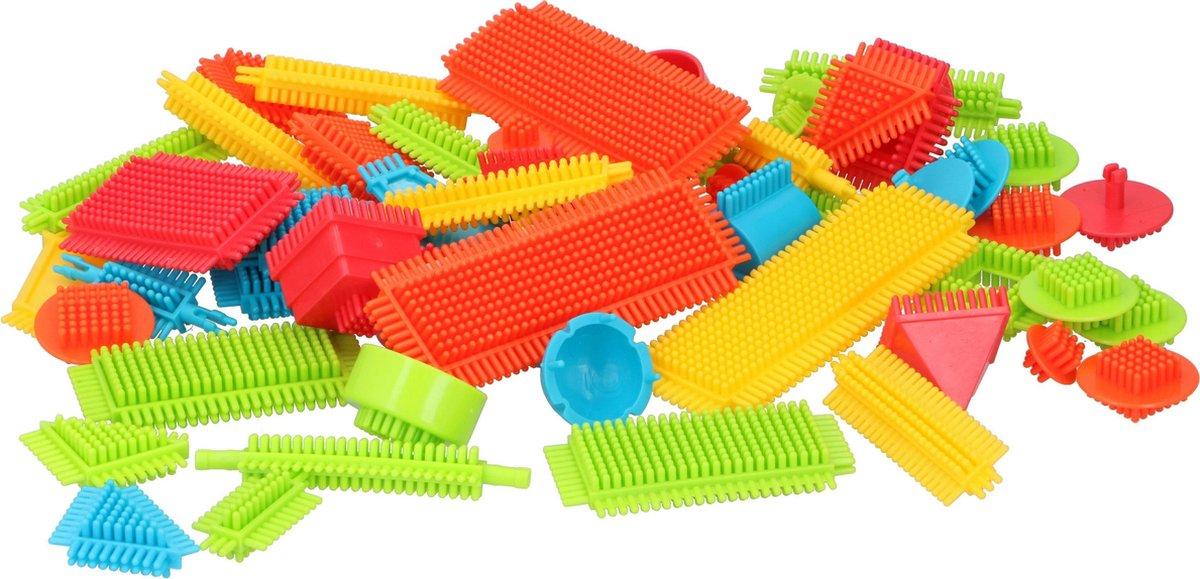 Eddy Toys Egelblokken - 58 Stuks - Bristle Blocks - Nopper - Verschillende vormen en Afmetingen