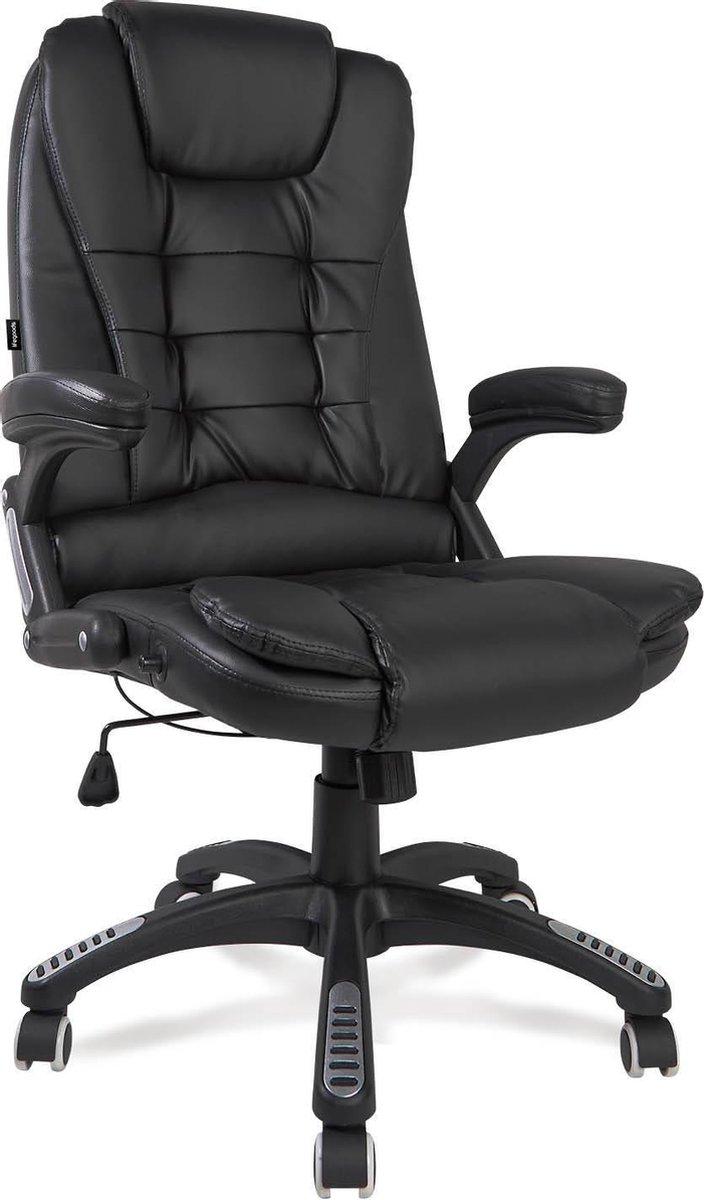 LifeGoods Luxe Bureaustoel - Directiestoel voor Kantoor - Gasveer - Kunstleer - Zwart