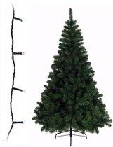 Groene kunst kerstboom 240 cm inclusief gekleurde kerstverlichting - Kunstbomen/kunst kerstbomen