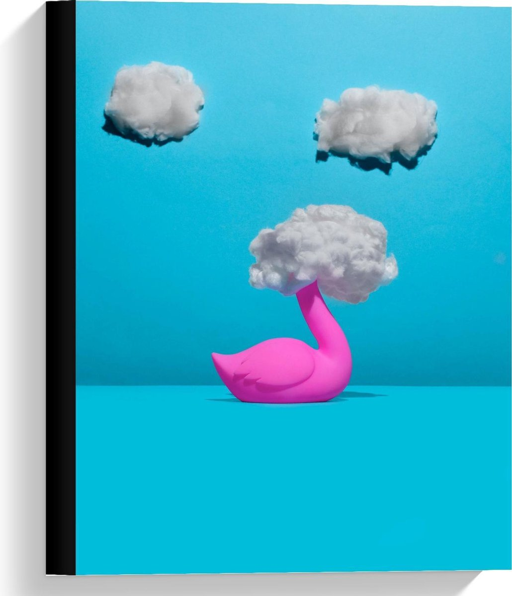 Canvas  - Flamingo met Hoofd in de Wolken - 30x40cm Foto op Canvas Schilderij (Wanddecoratie op Canvas)
