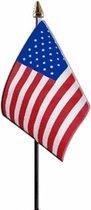 2x Amerika/USA vlaggetjes 15 cm - Amerikaanse vlag - Verenigde Staten landen thema versiering/decoratie