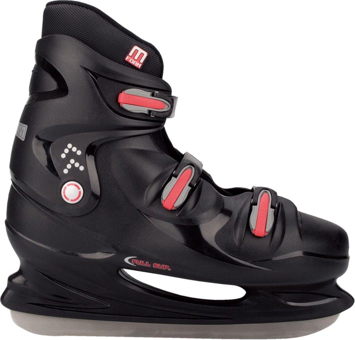 Nijdam IJshockeyschaats XXL - Hardboot - Zwart/Zilver/Rood - 49