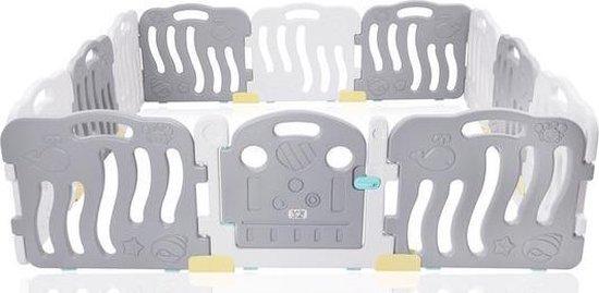 Extra grote grondbox, kruipbox, speelbox, playpen, baby, peuter en kind afscherming - Grijs Wit