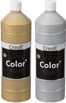Plakkaatverf Set - Creall Color+ - 1000ml - Goud en Zilver